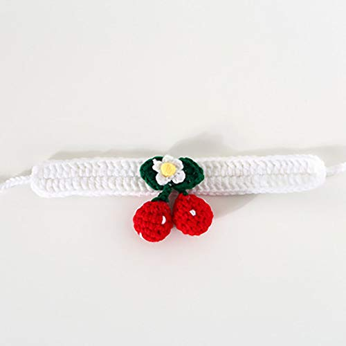 OHHCO Cats Handmade Knitting Collar Safe Adjustable Cute Collar for Down 28cm Neck Circumference Pets,White M