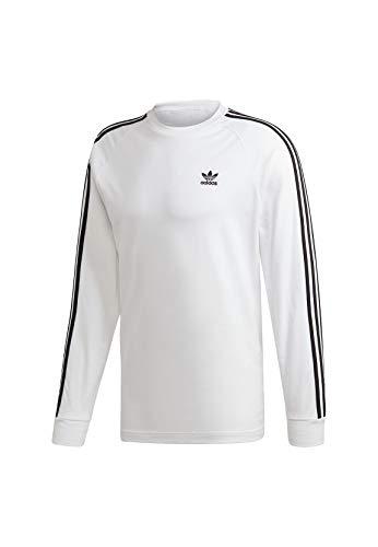 adidas 3-Stripes LS T Long Sleeved T-Shirt, Hombre, White, L