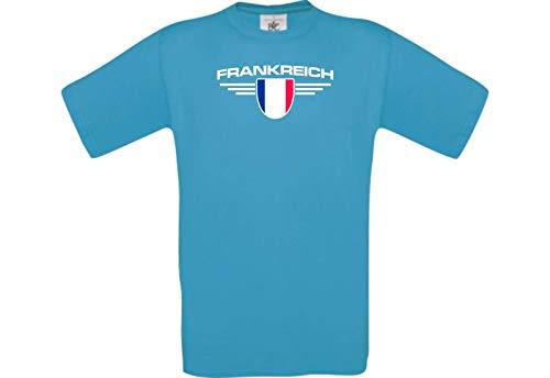 Shirtstown Man Camiseta Francia Camiseta de País con Su Nombre Deseado y Sus Número Deseado, Fútbol - Tuerkis, S