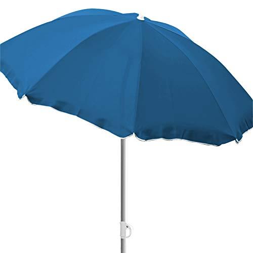 INDA-Exclusiv Ø180cm Sonnenschirm Strand Schirm Sonnenschutz Gartenschirm Strandschirm knickbar Polyester blau mit Volant