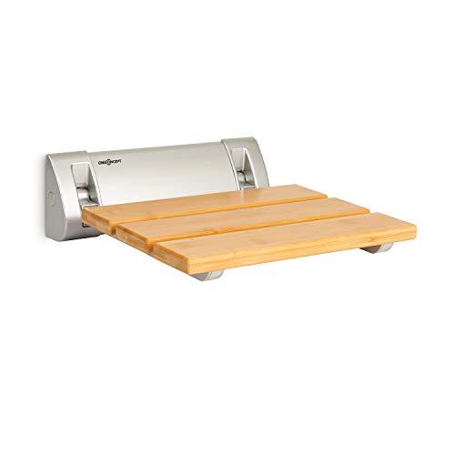 oneConcept Arielle Duschsitz, Klappsitz, Bambus-Sitzfläche, Aufhängung aus Aluminium, max. Gewicht: 160 kg, inkl. Montagematerial, holz