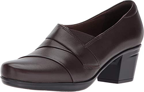 Clarks Women's Emslie Warbler Pump,Dark Brown Leather,9.5 M US
