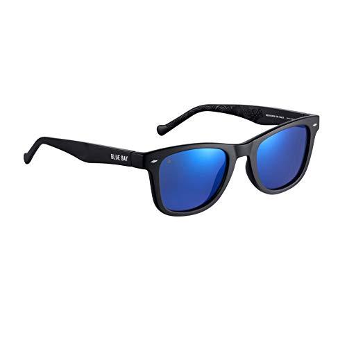 BLUE BAY Chitra - Occhiali da Sole Con Protezione UV 100%, Unisex- Adulto, Montatura Nera e Lenti Blu