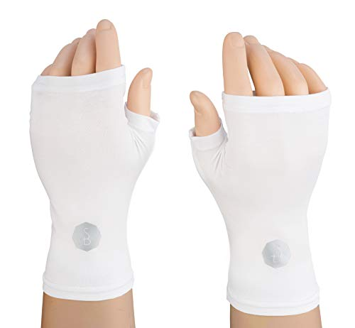 Solbari UPF 50+ Protective Hand Covers – Unisex Sleeves for UV Sun Protection - Large/X-Large/White (Set of Two Gloves)