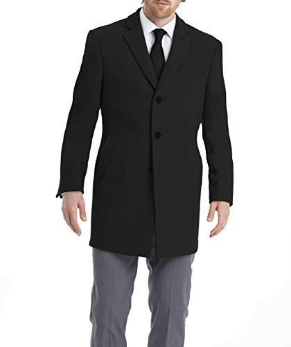Calvin Klein Men's Slim Fit Wool Blend Overcoat Jacket, Black Solid, 38 Long