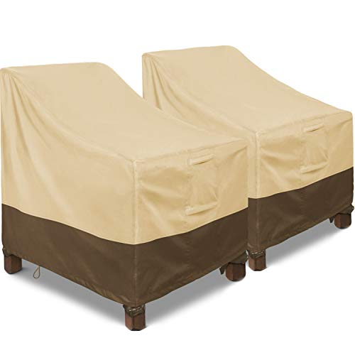 "Patio Chair Covers, 2 Pack Lounge Deep Seat Cover 35"" W x 38"" D x 31"" H, Heavy Duty Lawn Patio Outdoor Furniture Covers Waterproof with Air Vents for All Weather, Khaki & Brown"