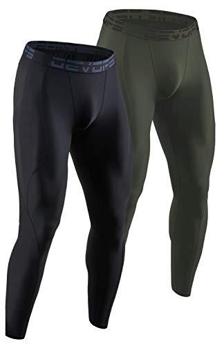 DEVOPS 2 Pack Men's Compression Pants Athletic Leggings (X-Large, Black/Olive)