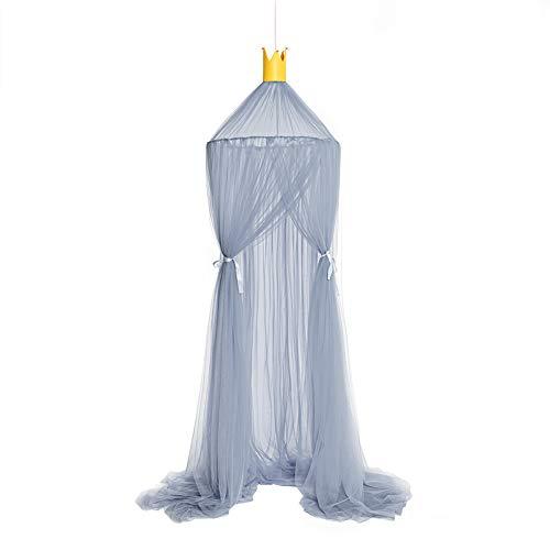 Pohove - Toldo para cama, decoración del hogar, para niños, dormitorio, mosquitera, protección de la tienda, cortina de princesa, universal, juego de castillo (gris)
