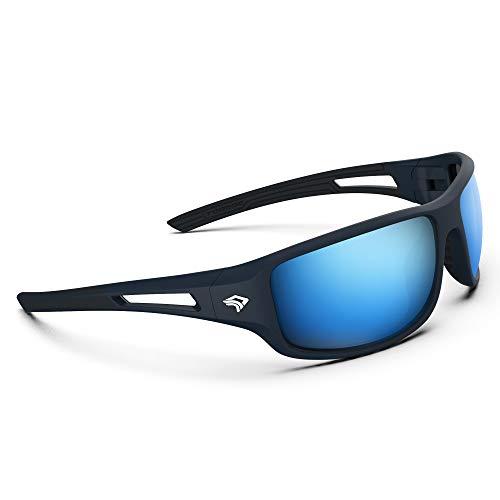 Torege Polarized Sports Sunglasses for Men Women Cycling Running Driving Fishing Golf Baseball Glasses TR03 (Matte deep grey&black&Ice blue lens)