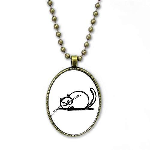 Colar de linha louca de gato pesado encaracolado coleção de joias com pingente de corrente vintage