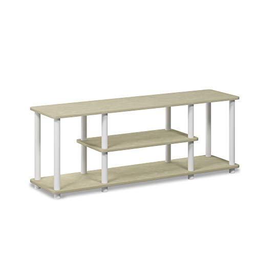 Furinno Turn-N-Tube 3-Tier Entertainment TV Stands, Cream Faux Marble/Mustard