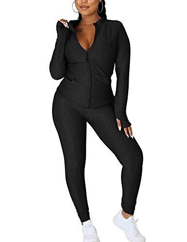 Cailami Women's Long Sleeve Top GYM Legging Pants Set 2 Piece Tracksuit Workout Outfits, X-Large, Black