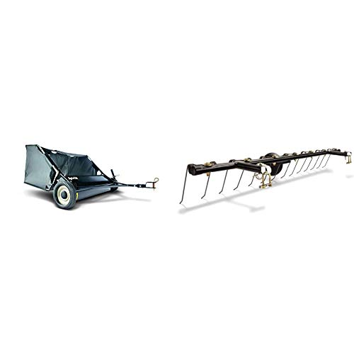 Agri-Fab 45-0320 42-Inch Tow Lawn Sweeper,Black & 45-0343 Tine Dethatcher for All Tow Lawn Sweepers