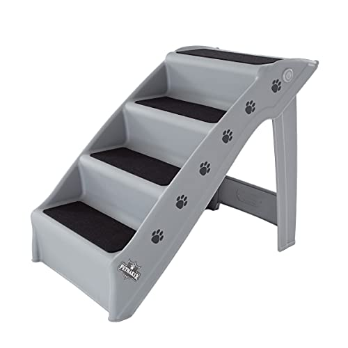 Pet Stairs – Safe and Durable Indoor or Outdoor Ramp with 4 Step Design – Cat or Dog Steps for Home and Vehicle by PETMAKER (Gray)