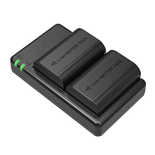 LP-E6 LP-E6N - Confezione da 2 batterie per fotocamera con caricatore per Canon EOS 7D Mark II 5D Mark III 70D 5DS 5DS R Mark II 6D 6D Mark II 7D 60D 70D 80D 90D, ecc