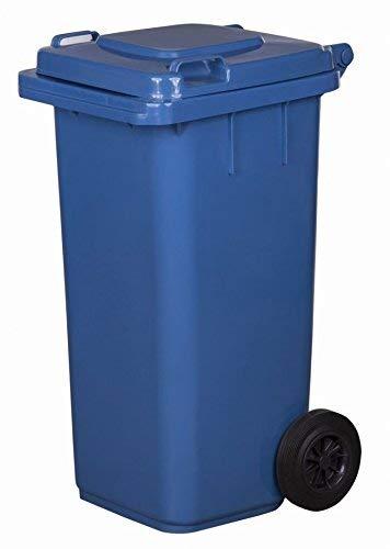 JESTIC Mülltonne Abfalltonne Reststofftonne 120L laufruhige Vollgummi-Räder NEU (blau)