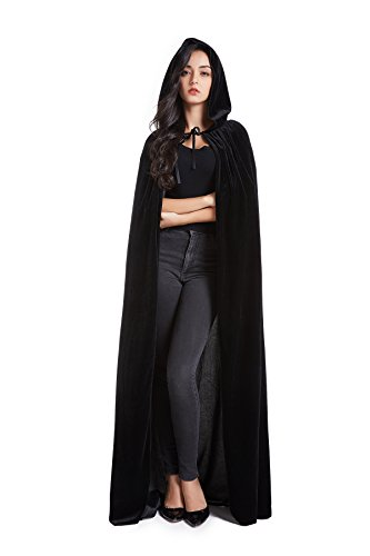 Crizcape Unisex Adult Halloween Costume Cape Hooded Velvet Cloak for Men and Womens Black