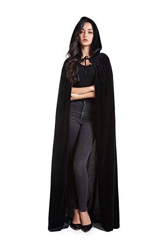 Crizcape Unisex Halloween Costume Cape Hooded Velvet Cloak for Men and Womens Black