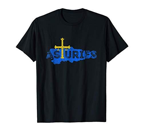 Mapa y Bandera Asturiana - Recuerdo Asturias España Camiseta