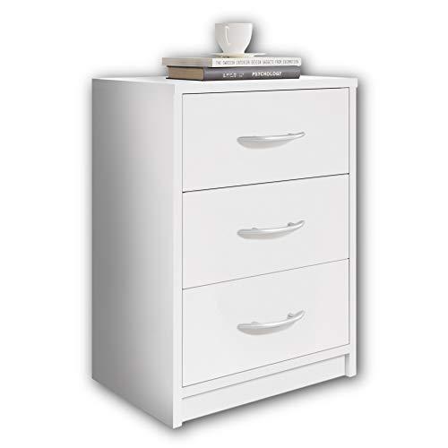 Stella Trading PEPE Nachttisch Weiß - Schlichter Nachtschrank mit drei Schubladen passend zu jedem Bett & Schlafzimmer - 39 x 54 x 28 cm (B/H/T)