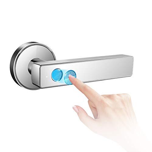 Keyless Entry Door Lock Smart Biometric Fingerprint Door Lock Safe Front Door Handle with Fingerprint Bluetooth App Key Unlock for Home Office Apartment Garage School Wooden Door by Nyboer (White)