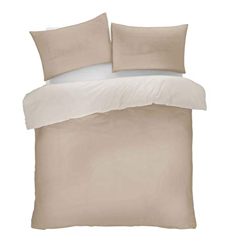 Lions Mink and Natural Reversible Plain Duvet Quilt Cover Set Double With Pillowcase Easy Care Bedding