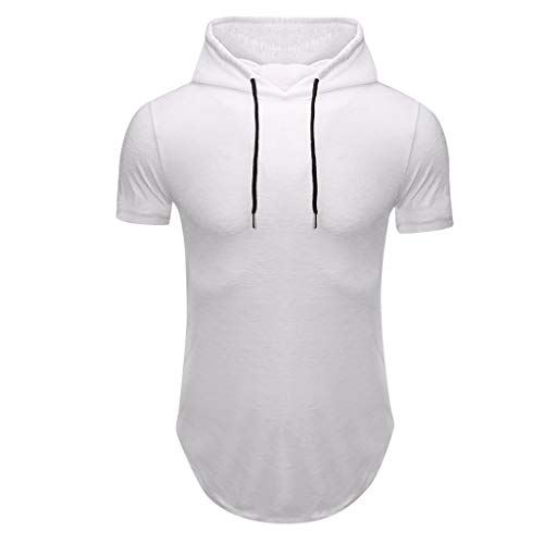 Review MITCOWBOYS Hooded T Shirts for Men Solid Color Pullover Hoodie Top Men's Summer Short Sleeve ...