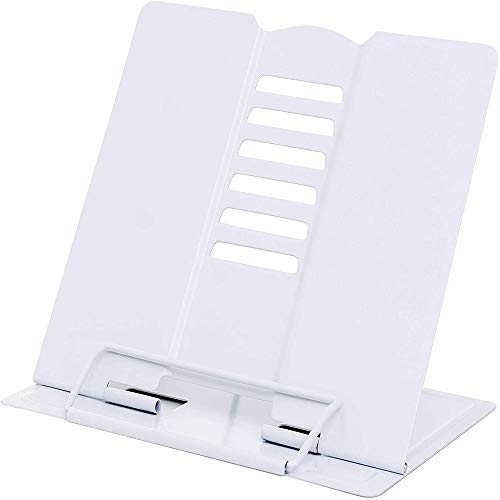 Multi Function Metal Book Stand, Metal Book Stand Cookbook, Holder Adjustable Reading Rest, Used for Reading Rest Shelf, Non-Slip Recipe Book, Simple Folding Book Shelf(White)