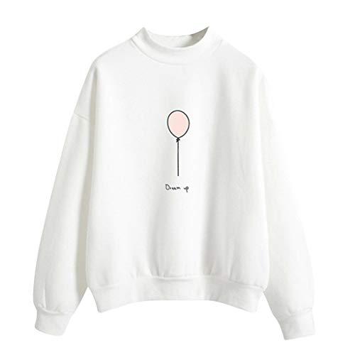 Best Deals! Lovor Women's Sweatshirt Balloon Print Turtleneck Long Sleeve Pullovers Casual Loose Shi...