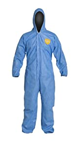 DuPont ProShield 10 PB127S Disposable Protective Coverall with Standard Fit Hood, Elastic Cuff and Ankles, Blue, 2X-Large (Pack of 25)