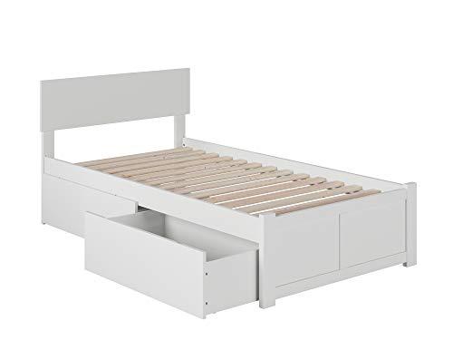 Atlantic Furniture Orlando Platform 2 Urban Bed Drawers, Twin XL, White