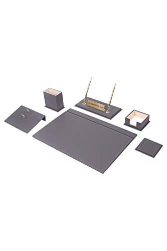 Calme-D - Juego de 8 protectores de escritorio de 49 cm x 34 cm, juego de escritorio de piel sintética en 10 colores a elegir, color: gris