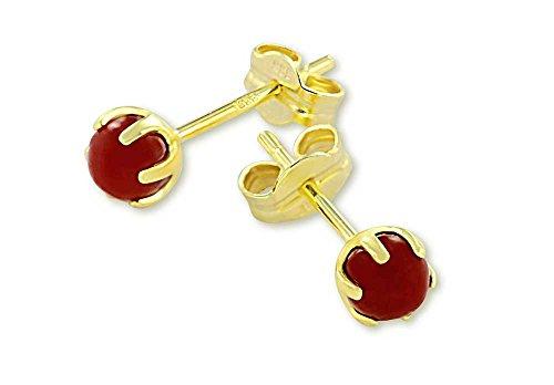 VASCAYA Damen Ohrstecker Ohrring rekonstruierte Koralle rot 4 mm Gold 333 Geschenk