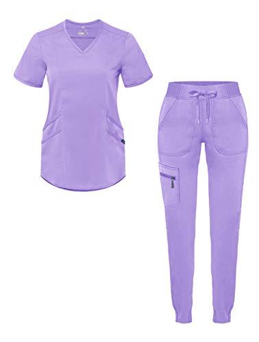 Adar Pro Modern Athletic Scrub Set for Women - Modern V-Neck Scrub Top & Yoga Jogger Scrub Pants - P9500 - Lavender - S