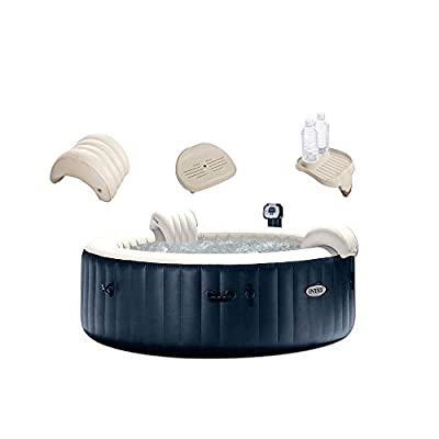 Intex PureSpa 6 Person 290 Gallon Outdoor Bubble Hot Tub, No Slip Spa Seat, Pillow, Cup Holder, and Drink Tray