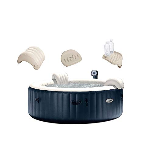 Intex 28409E PureSpa 6 Person Home Outdoor Inflatable Portable Heated Round Hot Tub Spa 85-inch x 28-inch with 170 Bubble Jets, Built in Heat Pump, No Slip Spa Seat, Pillow, Cup Holder, and Drink Tray