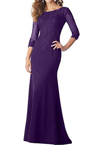 Vestido de noche para mujer, diseño de sirena, color negro Color lila. 38