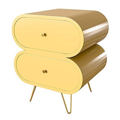 """Liudan Nightstand Unique Bedside Tables 2 Drawers Wood Nightstand End Table with Stainless Steel Legs Modern Style for Bedroom Storage Furniture 20.8"""" H Bedside Table (Color : Yellow)"""