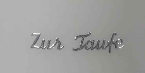 """Kerzen Verzierung/Sticker-Schriftzug 9652""""Zur Taufe"""" Silber"""