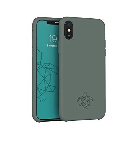 turtleandcase iPhone Hülle mit kostenlosem Panzerglas, Silikon oder Stoff Handyhülle, Dünne Schutzcase & Stoßfest für iPhone (iPhone X, Piniengrün)