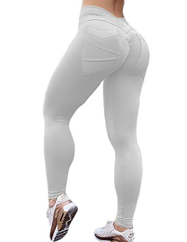Hioinieiy Women's Scrunch Ruched Butt Lifting Booty Enhancing Leggings High Waist Push Up Yoga Pants with Pockets White M