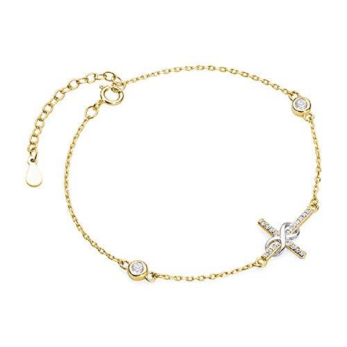 **Beforya Paris** * Kruis Oneindigheid* Verstelbare armband met zirkonia Swarovski - Armband verguld 925 zilver - Prachtige armband Valentijnsdag geschenk met sieradendoos PIN/75