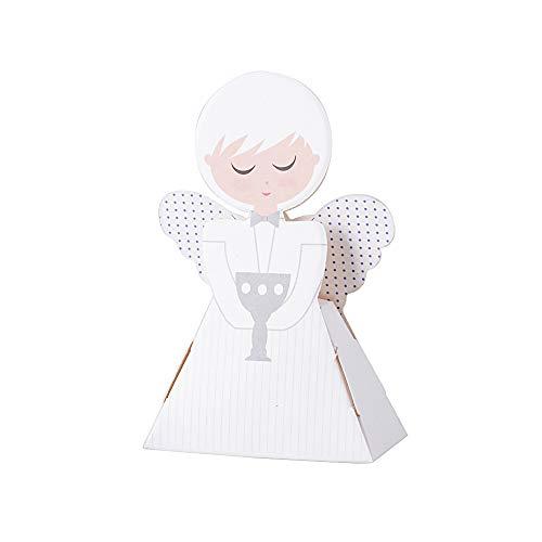 50 Stück Süße Geschenkboxen Angel für Taufe Hochzeit Geburt Babyparty Shower kommunion Gastgeschenk Kartonage Schachtel Tischdeko Bonboniere Box Süßigkeiten Pralinen Weiß 6 * 3 * 9.5cm - Junge