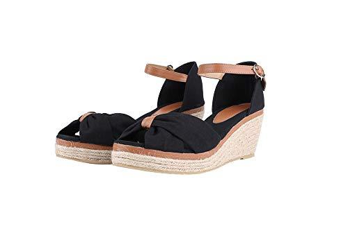 Damen Sandalen Keilabsatz Espadrilles Offen Zeh Slingback Leinwand Knöchelriemen Sommerschuhe mit Bogen Mid Heels Schuhe, Schwarz, 40 EU