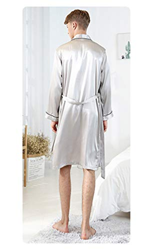 Lavnis-Mens-Satin-Bathrobe-Nightgown-Casual-Kimono-Robe-Loungewear-Sleepwear-Pajama-Set-with-Shorts