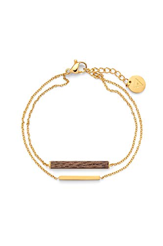 Kerbholz Joya de Madera - Geometrics Collection Rectangle Bracelet - Pulsera Fina para Mujeres Dorado con un Colgante Rectangular de Madera Natural - Ajustable (Longitud: 15 + 2,5cm)