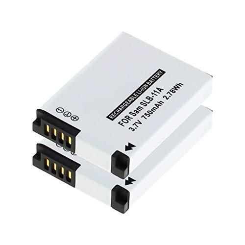 CELLONIC® 2X Batería de Repuesto EA-SLB11A SLB-11A per Samsung WB100 WB5000 WB550 WB600 WB2000 EX1 PL50 PL55 PL65 L200 L100 ES60 ES55 ST1000 TL240 CL5, 750mAh, Accu Sustitución Camara, Battery