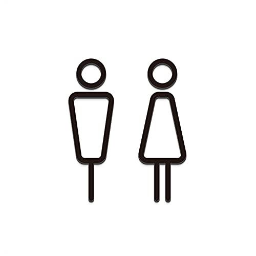 PICTOCLUB Restroom トイレ 男女 ピクトグラム案内表示サインプレート マットブラック