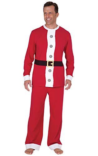 PajamaGram Holiday Santa Pajamas Men - Fun Christmas Pajamas, Cotton, Red, XL