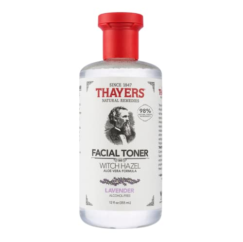 THAYERS Alcohol-Free Witch Hazel Facial Toner with Aloe Vera Formula, Clear, (Pack of 1), Lavender, 12 Fl Oz
